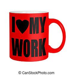 Trabajadores felices, empleados, personal... taza roja aislada sobre el blanco