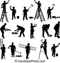 trabajadores, grupo, siluetas