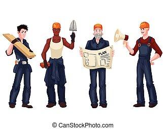 Trabajadores industriales, capataz, albañil, albañil, arquitecto
