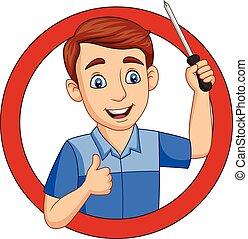Trabajadores masculinos con un destornillador