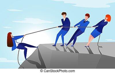 trabajadores, porción, concepto, oficina, colegas, colleague., montaña, alcance, caricatura, ilustración, rope., éxito, cima, su, tirón, vector, trabajo en equipo