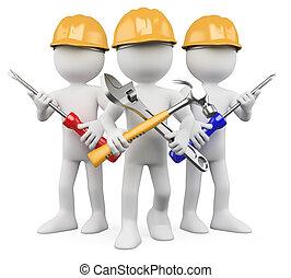 trabajadores, trabajo, -, 3d, equipo