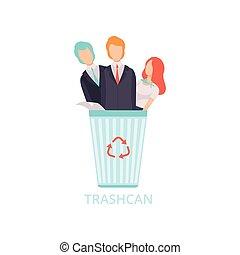 trabajadores, trabajo, empresarios, desempleado, despedido, vector, ilustración, botede basura