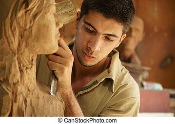 trabajando, artista, joven, artesano, escultura, escultor, esculpir