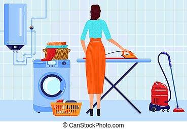 trabajando, dama, pila, plano, casa, ama de llaves, hierro, encargada de la limpieza, vector, carácter, tabla, ilustración, planchado, plano de fondo, ropa, caricatura