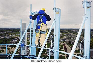 Trabajando en la torre de agua