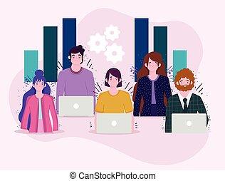 trabajando, equipo, empresa / negocio, computador portatil, trabajo, computadora, gráfico, gente, informe
