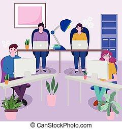 trabajando, equipo, juntos, computadoras portátiles, utilizar, escritorio, personas empresa
