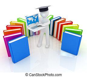 trabajando, hombre, sombrero, graduación, el suyo, 3d, libros, computador portatil