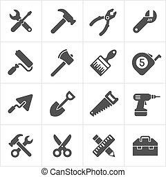 trabajando, iconos, herramienta, instrumento, vector, white.