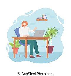 trabajando, joven, espacio, escritorio, mujer, oficina, computador portatil