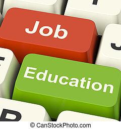 trabajando, llaves, estudiar, opción, trabajo, enseñanza de la informática, o, exposiciones