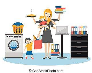trabajando, mujer de negocios, madre, multitarea, niño, bebé, woman., más viejo, coocking, calling.