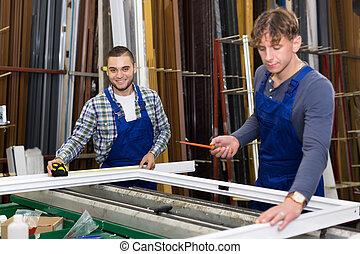trabajando, trabajadores, dos, ventana, perfiles