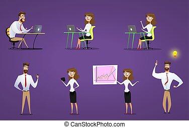 trabajo, computador portatil, mujer de negocios, set., thery, hombre de negocios