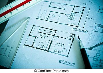 Trabajo de diseño de interiores y herramientas de dibujo