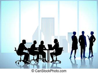 Trabajo de equipo, empleados de oficina