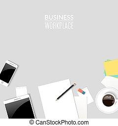 Trabajo de escritorio de primera vista. Lugar de trabajo con tablet teléfono y documentos de papel, taza de café. Oficina de negocios