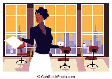 trabajo de la oficina, mujer de negocios