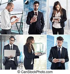 Trabajo de negocios con collage tecnológico