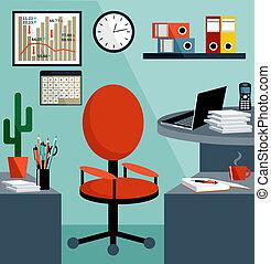 Trabajo de negocios con cosas de oficina, equipo, objetos.