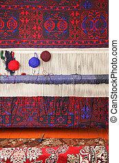 Trabajo de tejedores de alfombras