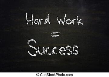 trabajo, duro, igual, éxito