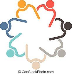 Trabajo en equipo 7 círculo entrelazado.
