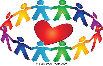 Trabajo en equipo alrededor del logo del corazón