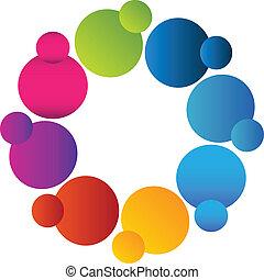 Trabajo en equipo con logo de colores vivos