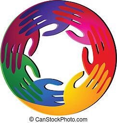 Trabajo en equipo con vívidos colores logotipo