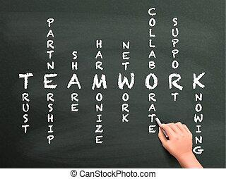 trabajo en equipo, crucigrama, mano, concepto, escrito