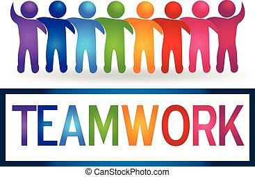 Trabajo en equipo de Logo abrazando a la gente