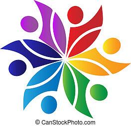 trabajo en equipo, diversidad, logotipo