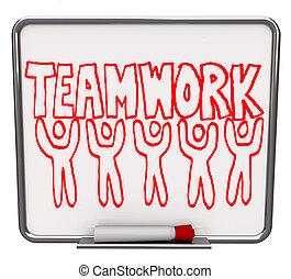 Trabajo en equipo en la junta de borrados con miembros del equipo
