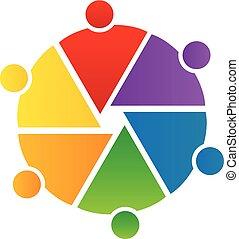Trabajo en equipo en un círculo