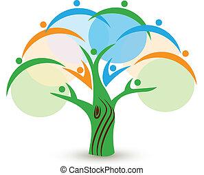 Trabajo en equipo en un logo de un árbol