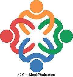 Trabajo en equipo entrelazado con cuatro personas