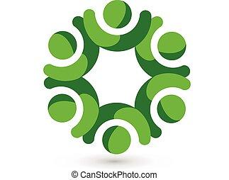 Trabajo en equipo, gente de la unidad, logo verde