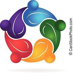 Trabajo en equipo gente sana logotipo
