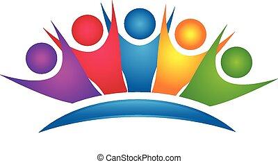 Trabajo en equipo logo del grupo feliz colorido