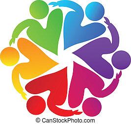 Trabajo en equipo logotipo de caridad