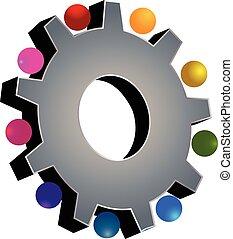 Trabajo en equipo logotipo gris