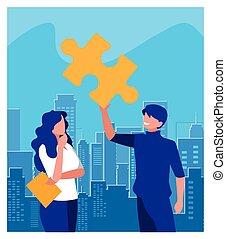 trabajo en equipo, rompecabezas, pedazo, personas empresa