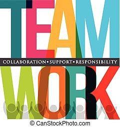 trabajo en equipo, tipografía
