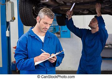trabajo junto, mecánica, equipo