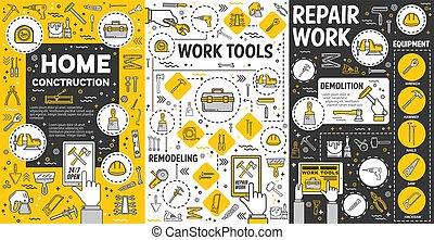 trabajo, modelar nuevo, herramientas, albergue construcción