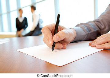 trabajo, plan, escritura