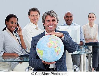 trabajo, terrestre, actuación, afortunado, empresa / negocio, globo, equipo