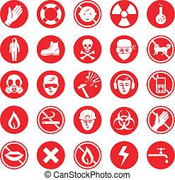 trabajo, vario, protección, iconos